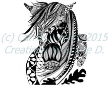 Black and White Art Pen and Ink Animals Horse Masquerade Signed 5 x 7 Print Home Decor Design Drawing