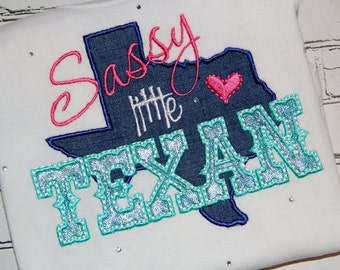 Sassy Little Texan Girl Custom Tee Shirt - Customizable -  Infant to Youth 25