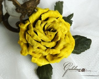 Leather  yellow rose  pin brooch hair hat clip.Corsage flower.
