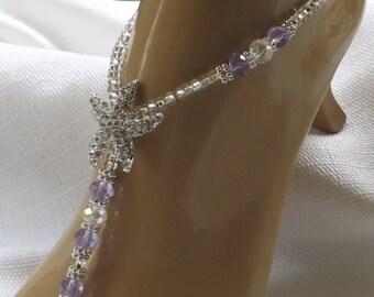 Lavender Rhinestone Starfish Foot Jewelry Purple Wedding Starfish Barefoot Sandal Plum Bridesmaid Gift Starfish Jewelry