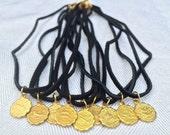 Astrology Charm Choker - Brass & Leather