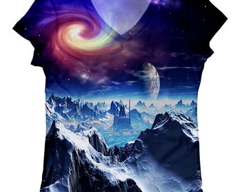 woman galaxy print top, t shirt and tank xs - plus size(6-67)