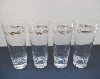 Pilsner Beer Glasses Tumblers Lifetime China Homer Laughlin Gold Crown - Set of 4 (Other Shapes Available)
