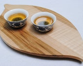 Curly Ambrosia Maple 'Tea Leaf' Tray, Tea Tray, Cutting Board, Reclaimed, Kitchen Gift Gourmet,