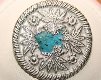 Silver Coloured & Turquoise Flowers Patterned Vintage Brooch