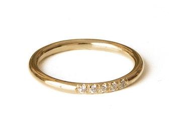 Diamonds ring. 14k Gold Filled ring. Alternative wedding ring. Half eternity ring. Bridal ring. Unique wedding rings. Dainty Stacking Ring