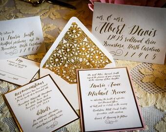 Calligraphy Wedding Invitation, Gold Foil Envelope Liner, Vintage Wedding Invitation