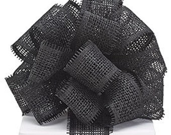 """Black Paper Mesh Woven Ribbon 2 1/2"""" 3 yards, DIY supply, wreath, bow, halloween, fall, party, packages"""