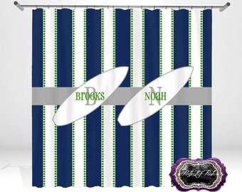 Surf Board Personalized Custom Shower Curtain Monogram With Name Or  Initials Perfect For Any Bathroom