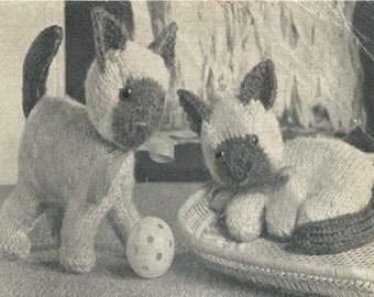 Vintage - Siamese Cats - Knitting Pattern - Digital Download