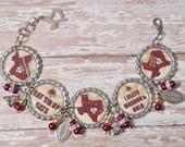 Texas State Bobcats Inspired Glitter Bottlecap with Beads and Bling Bracelet