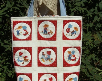 Large Tote Bag - Repurposed Wall Quilt - Large Craft/Market Tote Bag - Quilted Sun Bonnet Sue/Overall Sam Quilt