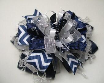 Hair Bow Navy Blue CHEVRON Silver White Unique Big Boutique Toddler Girl Korkers Dallas Cowboys Team Spirit Wear