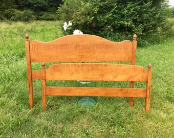 Vintage Headboard, Headboard and Footboard, Three Quarter Bed, Curly Maple, Wooden Headboard