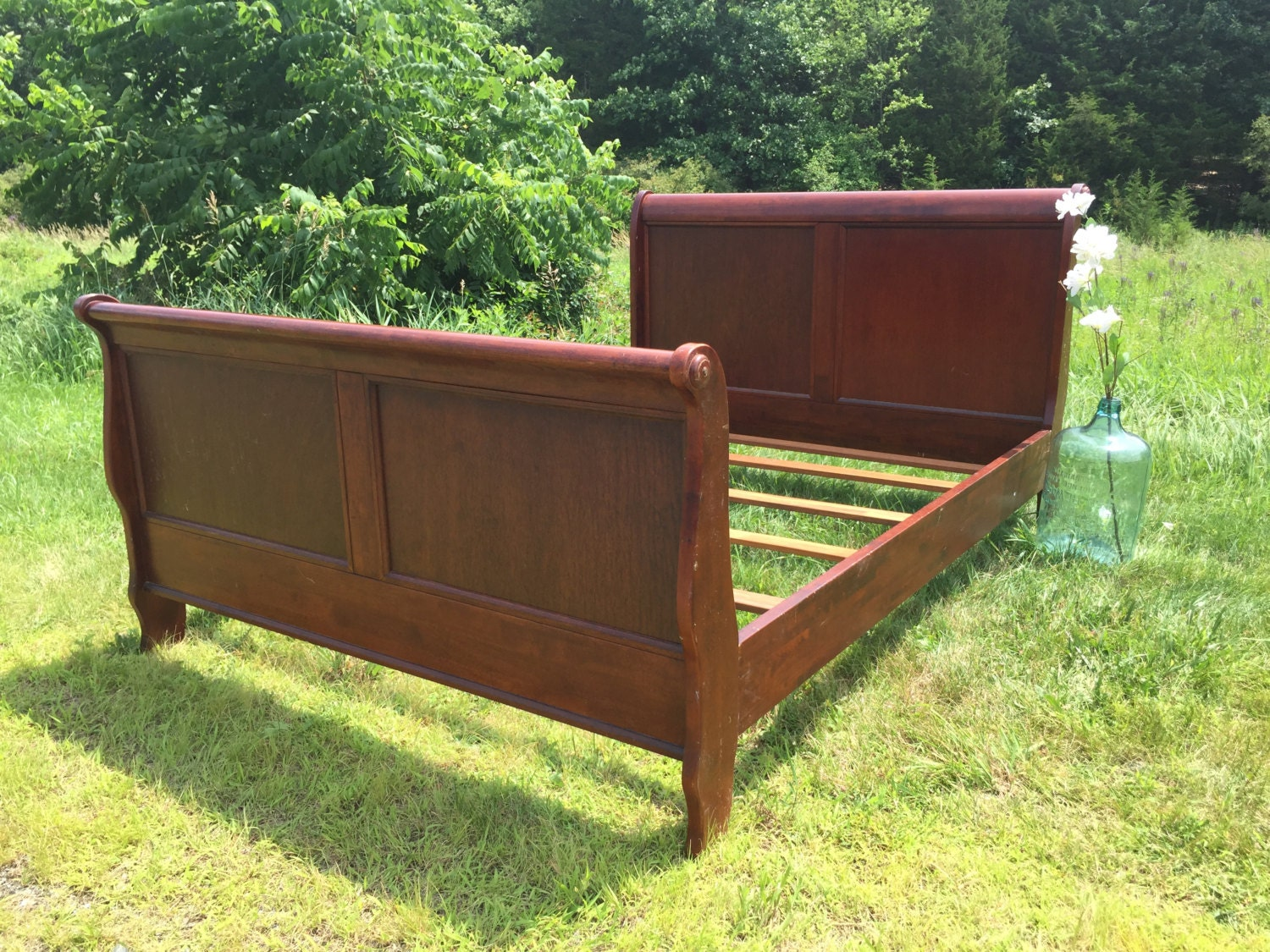 sleigh bed queen wooden bed frame shabby chic bed custom. Black Bedroom Furniture Sets. Home Design Ideas