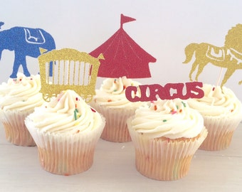 Glitter Circus Birthday Party Cupcake Topper, Circus Party Decorations, Mix of 10 Cake Topper Party Picks, 1st Birthday Party Vintage Circus