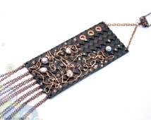 Hand Painted Leather Necklace with cultured pearls. Leather in chain collection. Ready to ship