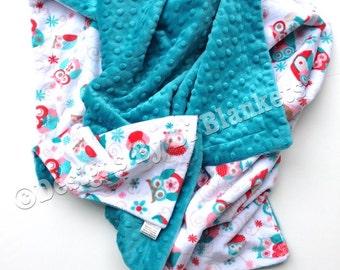Toddler Minky Blanket, Minky Baby Blanket, Owl Minky Blanket, Teal Coral Blanket,Baby Girl Blanket ,Toddler Bedding Size 40 x 50in