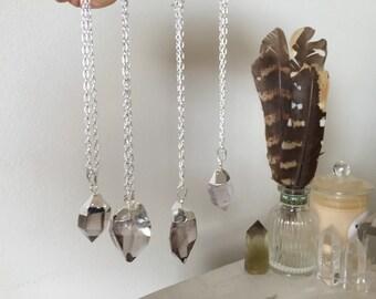 Smokey quartz pendant - silver plated