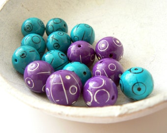 Violet and turquoise polymer clay round beads