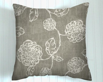 Pillow, Gray Pillows, Decorative Pillows, Gray Floral Pillows, Cushions, Beach Decor, Throw Pillows, Porch Pillows,