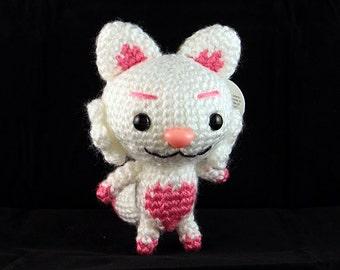 White & Pink Heart Amigurumi Fox Plush (ready-to-ship; WYSIWYG)