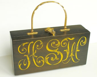 Vintage Wooden Purse, Gold Lion Clasp, Circa 1960's
