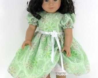 RESERVED Handmade Doll Clothes Fit American Girl - 18 inch Dress, Pantalettes, Headband -Green Taffeta, Organza Overlay -Shoes, Socks Option