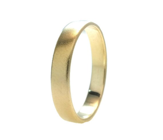 Recycled 14k Gold Wedding Band RingHard Matte Polish Gold4mm