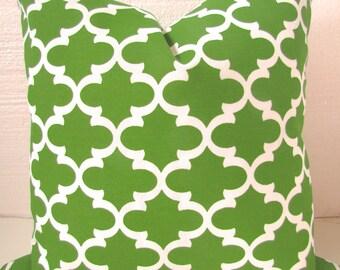 GREEN PILLOWS Green Indoor Outdoor Decorative Pillow Covers Grass Green Outdoor Throw pillow Covers 16 18x18 20 Quatrefoil Moroccan Tropical