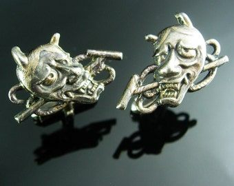 Vintage Devil Cufflinks STERLING SILVER demon satan grotesque figural mens cuff links novelty jewelry