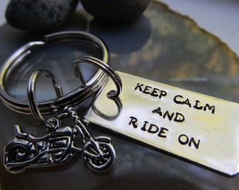 Motorcycle Key Ring Hand stamped Key ring Keep Calm Keychain Gift for Him Gift for Her Motorcycle Gift