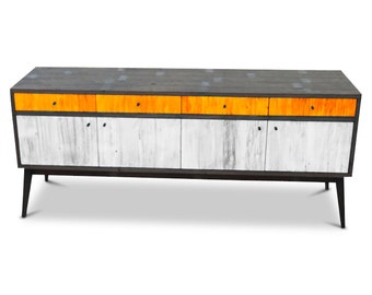 Modern Mid Century Retro Scandinavian Orange & White Sideboard / Buffet / Entertainment Unit - Solid Timber, Recycled Wood