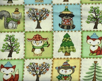 FREE SHIPPING - Hedgehugs Blocks fabric - forest animals hedgehog fox squirrel owl raccoon tree squares patch -  Henry Glass - YARD
