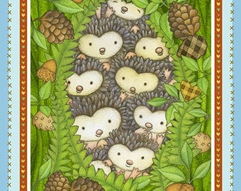 FREE SHIPPING - Hedgehugs Forest Animals quilting wall hanging panel - hedgehog  fox squirrel owl - Henry Glass - 23.5 x 44 panel