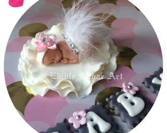 BABY SHOWER CAKE Pink feather tutu Topper Fondant baby  Tutu Cake Topper Fondant Cake Topper baby girl
