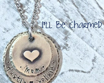 Hand Stamped Mom Necklace - Personalized Jewelry - Hand Stamped Necklace - Family Necklace - Grandma Jewelry - Name Jewelry - Gifts For Her