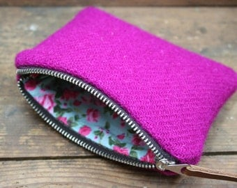 Pink Harris Tweed zipped coin purse with floral lining