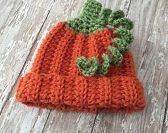 Crochet Pumpkin Hat - Newborn Pumpkin Hat - Baby Pumpkin - Photography Prop for Fall Photos - Pumpkin Hat Newborn - Made to Order