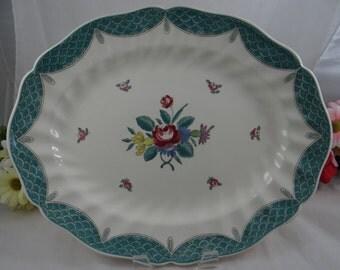 "1940s Vintage Royal Doulton English Bone China  ""Lowestoft Bouquet"" 13.5"" Oval Serving Platter"