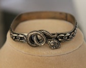 Square Brass Bracelet with a Snake Design, Rounded Edges on a Brass Bracelet with a Snake Design, Chain and Snake Bangle