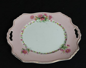 large Royal Winton plate pink with border & flowers tab handles