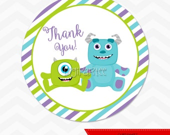 INSTANT DOWNLOAD - Monsters Inc Baby Shower Favor Tags