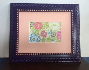 Purple 8x10 Upcycled Painted Wall Photo frame with mat