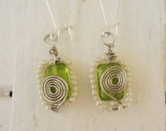 Green glass silver earrings handmade jewelry