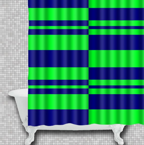 Lime And Navy Shower Curtain Green Striped Bath By Xddesigns