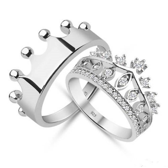 king and queen crown wedding rings king amp queencrown ringcrown ring setgold crown ringsilver 5313