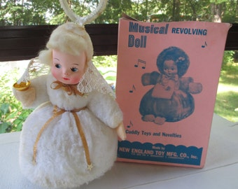 Musical Revolving Plush Blonde Doll Plays Silent Night 1950's with box New England Toy