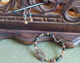 Fancy Jasper bracelet and earrings set