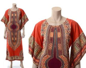 Vintage 70s Dashiki Angel Sleeve Maxi Dress 1970s Tribal Ethnic Bohemian Cotton Long Hippie Festival Boho Caftan